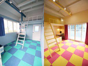 天井を解放したロフトスペース。キッズルームらしいポップなカラーリング。